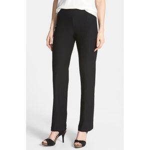 Eileen Fisher Black Straight Leg Crepe Pants